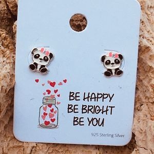 Girls sterling silver epoxy panda bear earrings